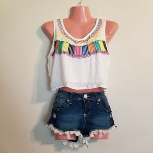Colorfully embroidered crop top